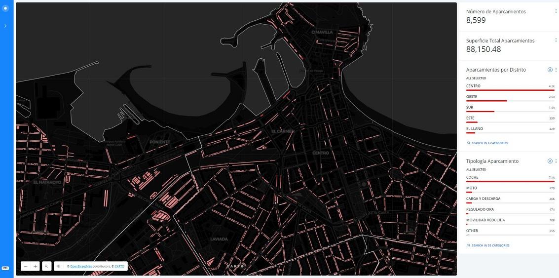 Mapa web de aparcamientos de Gijón